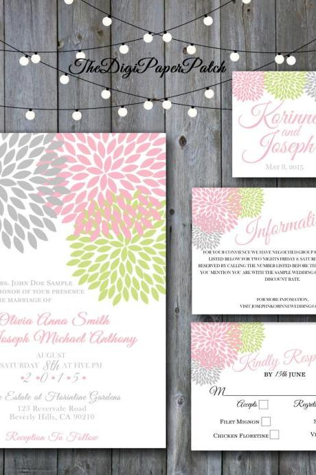 Chrysanthemum Pink grey Green Wedding Invitation - Printable wedding invitation Set, Minimalist wedding