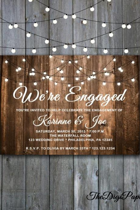 Engagement Wood and Lights Invitation - Printable Engagement Party invitation , Minimalist wedding, Aged Wood Engagement Invitation