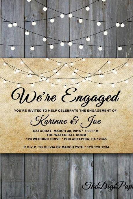 Burlap Engagement Invitation Shabby Chic - Printable wedding engagement, Minimalist engagement, rustic garden engagement invitation