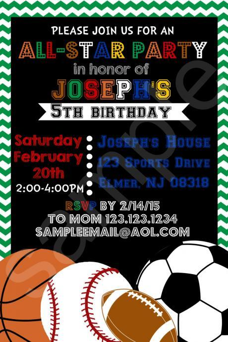 Sports All-Star Birthday Invitation (Digital File)