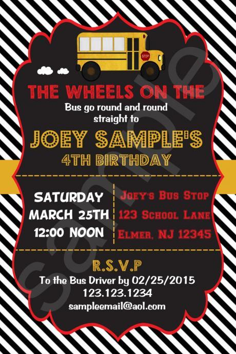 School Bus Birthday Invitation (Digital File)