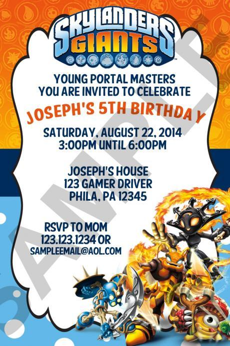 Skylanders Birthday Invitation (Digital File)