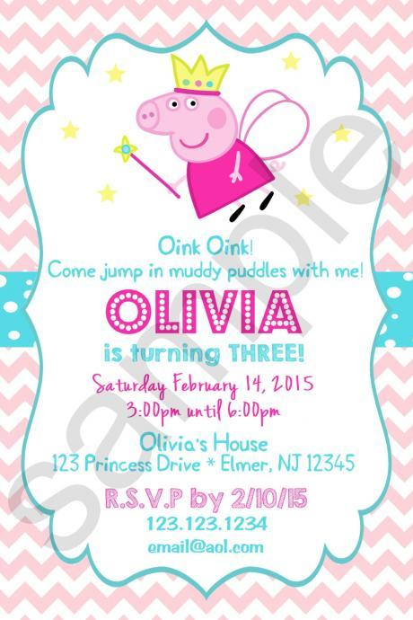 Peppa Pig Princess Birthday Invitation (Digital File)
