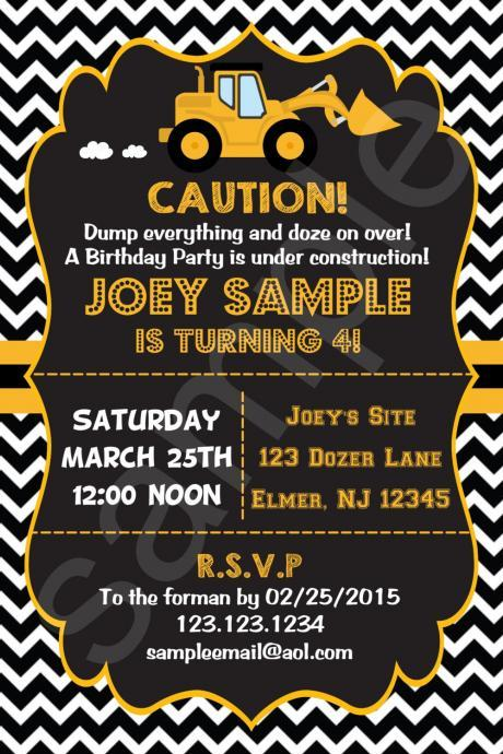 Bulldozer Construction Birthday Invitation (Digital File)