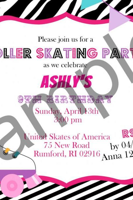 Roller Skate Birthday Invitation (Digital File)
