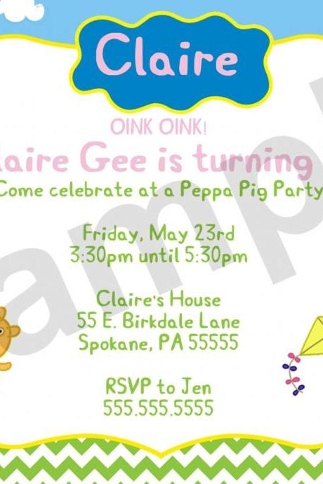 Peppa Pig Birthday Invitation (Digital File)