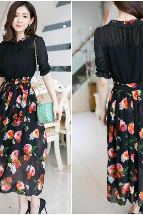 Adorable Black Floral Maxi Dress
