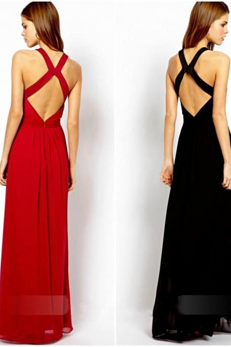 Sexy Long Backless Dress In Red And Black