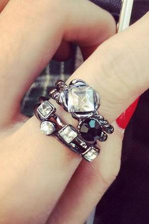 Rhinestone Alloy Index Finger Rings