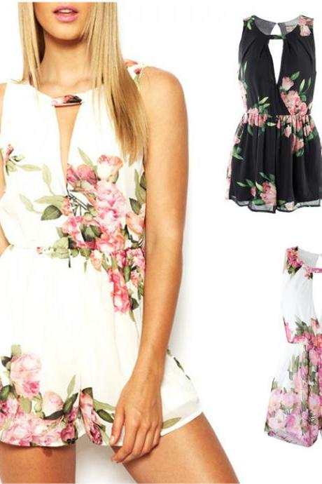 Floral Open Back Overall Chiffon Jumpsuit
