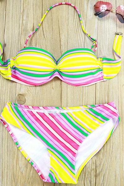 Striped Print Woman Bikini Swimsuit