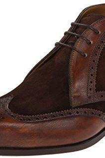 MEN BROWN BROGUE ANKLE SUEDE AND LEATHER CHUKKA BOOTS, MEN ANKLE DRESS BOOTS