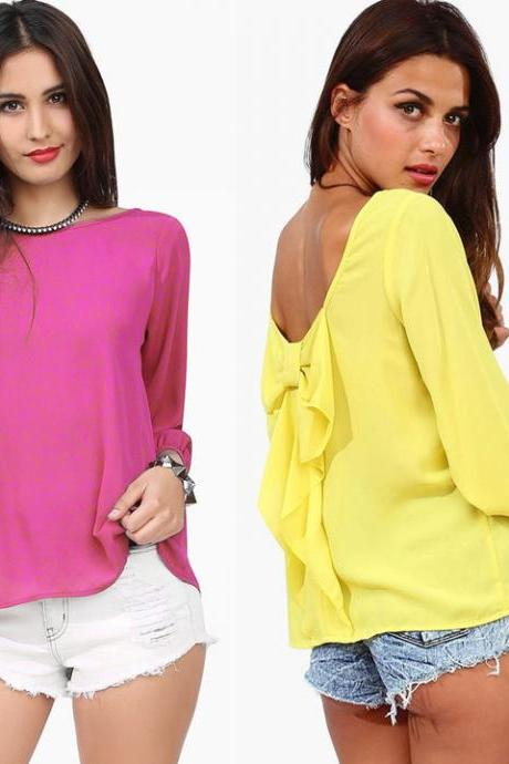 Cut Out Back Chiffon T-Shirts Blouse