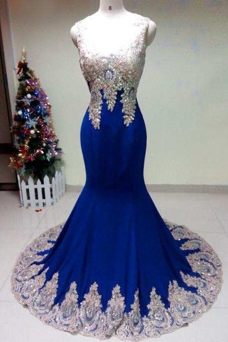 Elegant sleevelss royal blue chiffon with appliques beaded mermaid Prom Dress 2015, party Dress,evening dress 2015