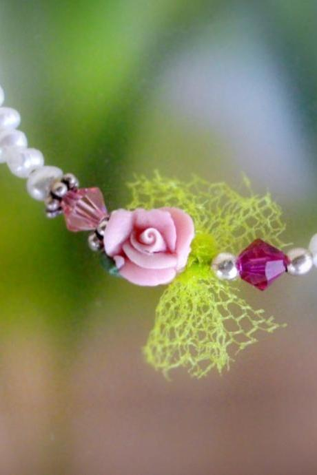 Floral bracelet with pearls swarovski tulle and Sterling silver