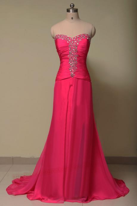 sweetheart hot pink chiffon beaded long Prom Dress 2015, women formal party Dress,evening dress 2015