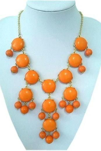 Casual teen cool orange beaded young girl necklace