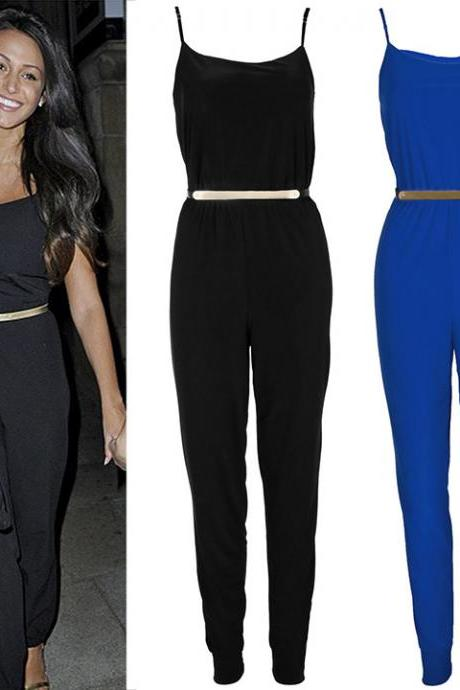 Fashion Women Sexy Bodycon Bandage Sleeveless Tight Waist Jumpsuits Playsuit