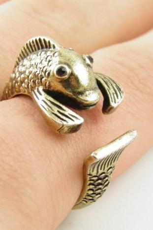 Gold Fish Wrap Ring