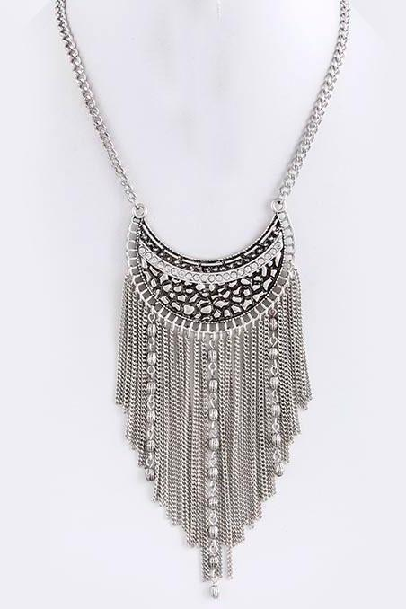 Cresent Fringe Necklace