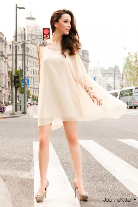 Fashion Women Gift Swing Dress With Shoulder Detail