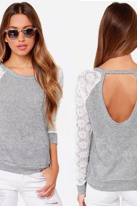 New Women's Stylish Backless Sexy Hollow Out Lace Long Sleeve Casual Tops Sweatshirt