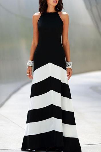 Fashion Sleeveless Color Block Design High Waist Maxi Dress