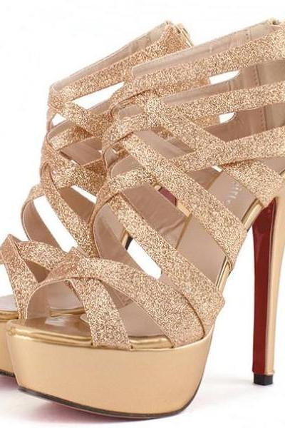 High Heel Cross Strap Gold Sandals