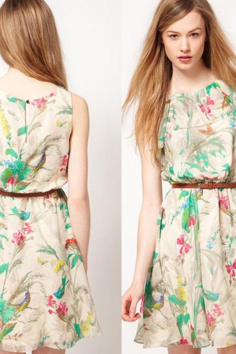Sexy Women Ladies Chiffon Sleeveless Flower Print Party Slim Casual Mini Dress