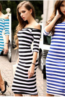 European and American fashion shoulder sleeve package hip in cultivate one's morality dress sexy figure with stripe base skirt