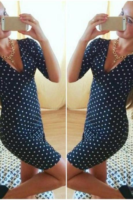 Cute Polka Dots Retro Style Navy Blue Dress