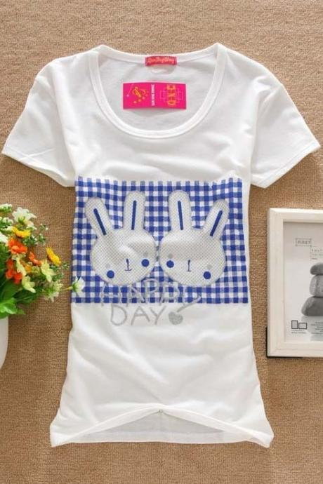 Happy day bunnies Print Love Tee Girl Top