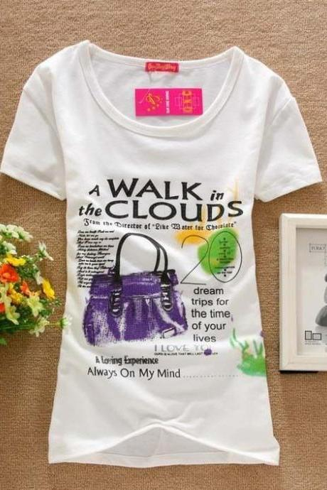 Walk in the clouds shirt Print Love Tee Girl Top