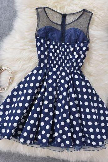 Fashion Pierced Polka Dot Slim Organza Dress
