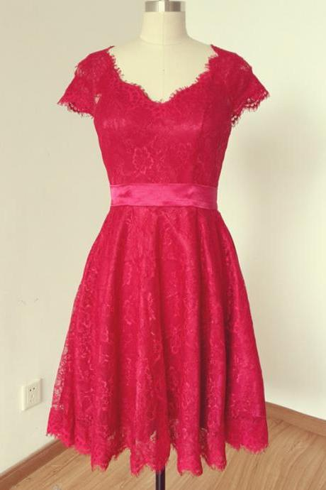 Handmade 2015 Cap Sleeve V-Neck Red Lace with Sheer Tulle Back Short Prom Dress, Homecoming Dress, Graduation Dress
