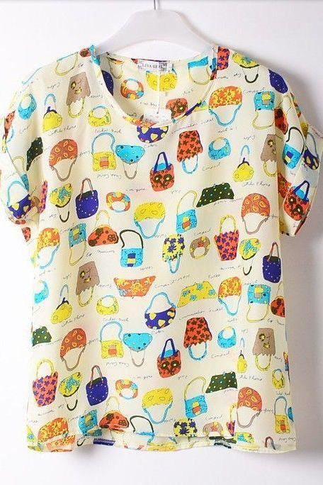 Purses fashion Shirt Print summer Tee Girl Top