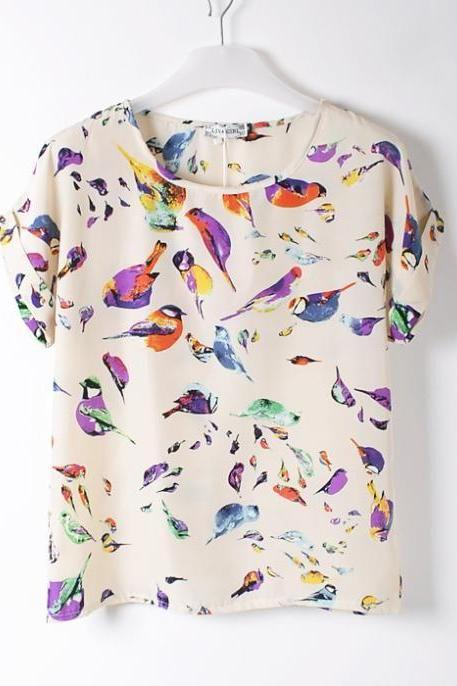 Birds Shirt Print Party summer Tee Girl Top