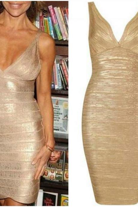 V Neck Knee Length Bandage Dress In Gorgeous Gold