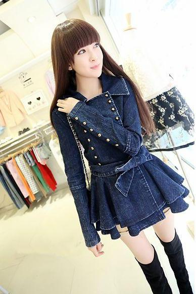 Cute Double Breasted Denim Jacket Short Coat