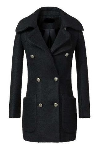 Elegnat Fashion Wool Double Breasted Warm Women Long Pea Coat