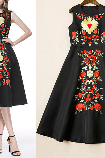 2015 spring and summer women's high-end three-dimensional embroidery vest dress