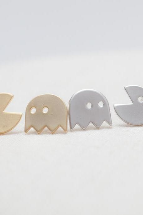 Pacman Silver post earrings