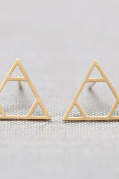 Legend Of Zelda Triforce Triangle Studs Earrings silver/gold
