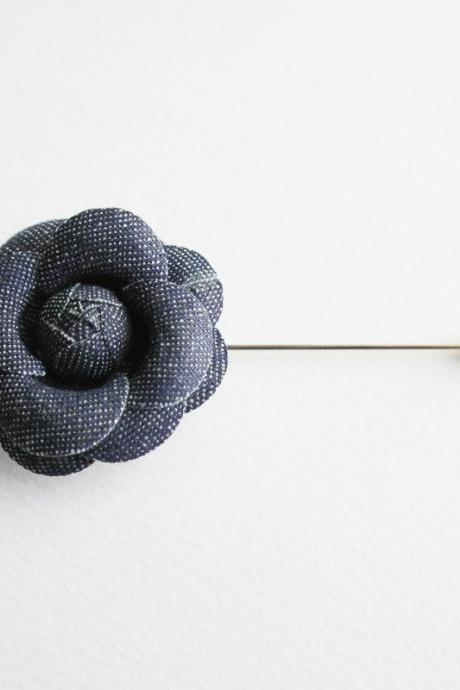 Camellia Denim Flower Boutonniere/Buttonhole For Wedding,Lapel Pin,Hat Pin,Tie Pin