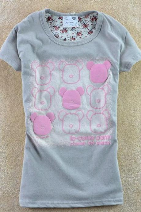 Gray-pink summer Shirt Tee Girl Top