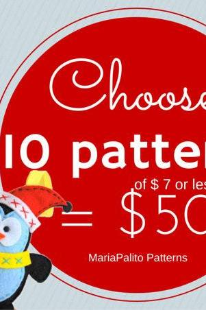Choose 10 PDF Patterns (of 7 dollars or less) for 50 dollars