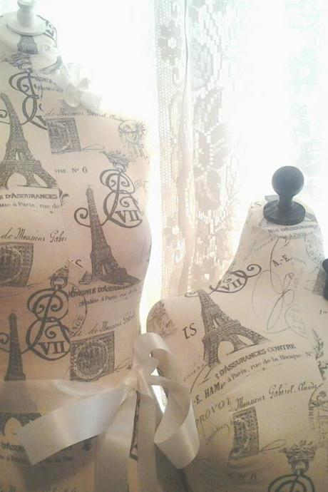 Boutique Dress form, bust to the waist set. Life size torso great for store front or home decor. Paris linen Bust forms.
