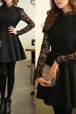 Elegant lace long-sleeved dress SF30209JL