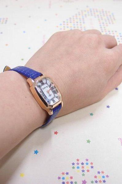 Thin Belt Blue Leather Elegant Evening Woman Watch