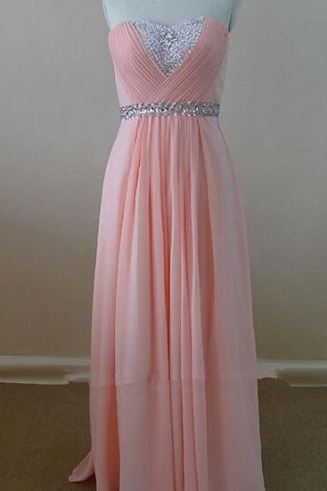 Delicate Sweetheart Pink Chiffon Long Prom Dresses 2015 with Beadings, Bridesmaid Dresses, Formal Dresses, Evening Dresses